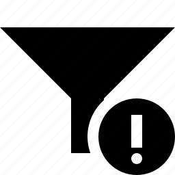 filter, funnel, sort, tools, warning icon