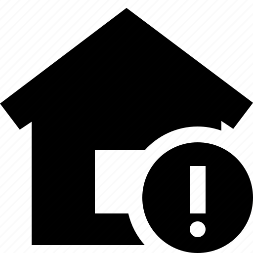 address, building, home, house, warning icon