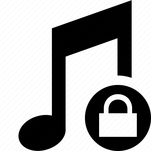 audio, lock, multimedia, music, note, sound icon