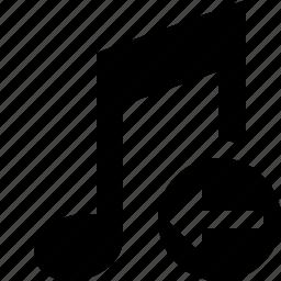audio, multimedia, music, note, previous, sound icon