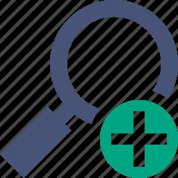 add, explore, find, magnifier, search, view, zoom icon