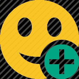 add, emoticon, emotion, face, smile icon