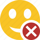 cancel, emoticon, emotion, face, smile icon