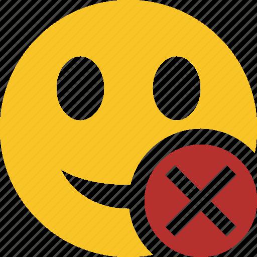 cancel, emoticon, emotion, face, smile icon