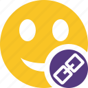 emoticon, emotion, face, link, smile icon