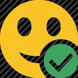 emoticon, emotion, face, ok, smile icon