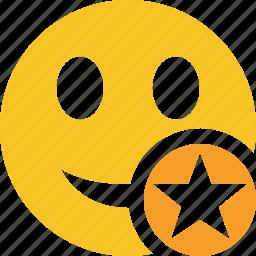 emoticon, emotion, face, smile, star icon