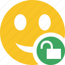 emoticon, emotion, face, smile, unlock icon