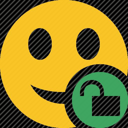 emoticon, emotion, face, smile, unlock icon