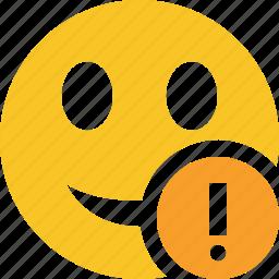 emoticon, emotion, face, smile, warning icon