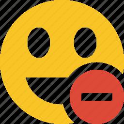 emoticon, emotion, face, laugh, smile, stop icon