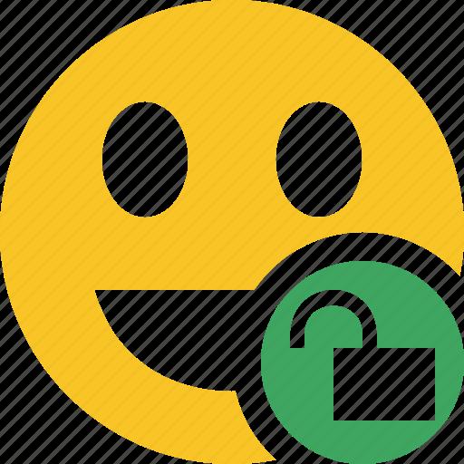 emoticon, emotion, face, laugh, smile, unlock icon