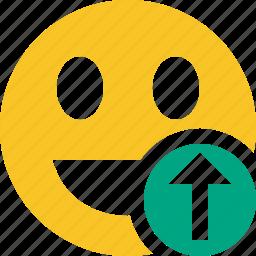 emoticon, emotion, face, laugh, smile, upload icon