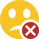 cancel, emoticon, emotion, face, smile, unhappy icon
