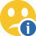 emoticon, emotion, face, information, smile, unhappy icon