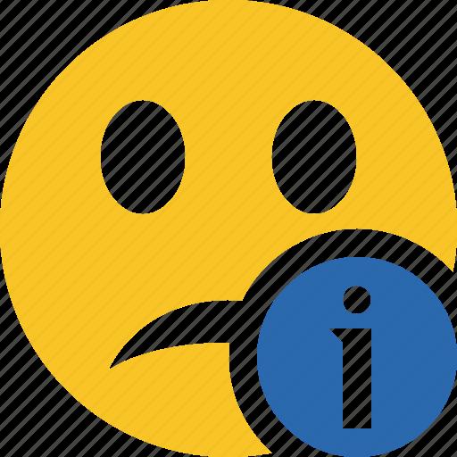 emoticon, emotion, face, information, smile, unhappy icon