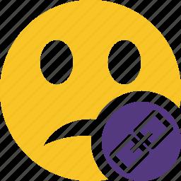 emoticon, emotion, face, link, smile, unhappy icon
