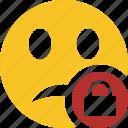 emoticon, emotion, face, lock, smile, unhappy