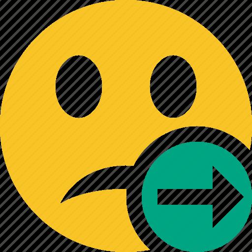 emoticon, emotion, face, next, smile, unhappy icon