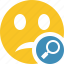 emoticon, emotion, face, search, smile, unhappy icon