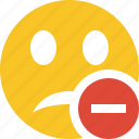 emoticon, emotion, face, smile, stop, unhappy icon