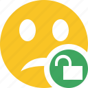 emoticon, emotion, face, smile, unhappy, unlock icon