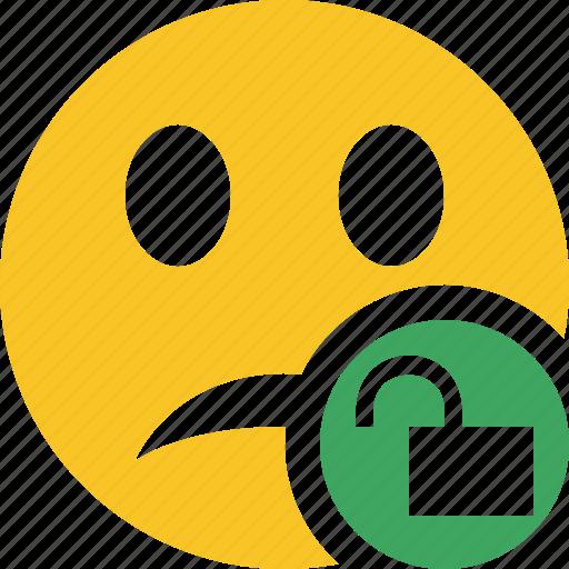 emoticon, emotion, face, smile, unhappy, unlock icon