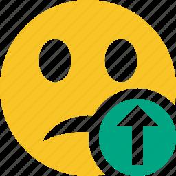 emoticon, emotion, face, smile, unhappy, upload icon