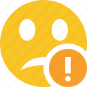 emoticon, emotion, face, smile, unhappy, warning icon