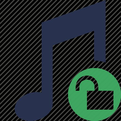 audio, multimedia, music, note, sound, unlock icon