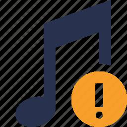 audio, multimedia, music, note, sound, warning icon