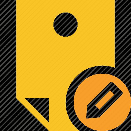 document, edit, memo, note, pin, reminder, sticker icon