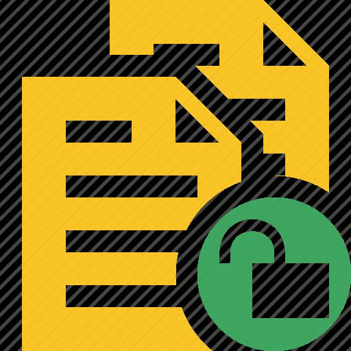 copy, documents, duplicate, files, unlock icon