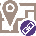 gps, link, location, map, marker, navigation, pin