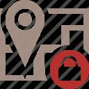 gps, location, lock, map, marker, navigation, pin