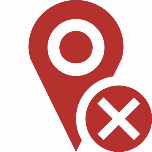 cancel, gps, location, map, marker, navigation, pin icon