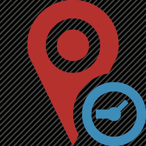 clock, gps, location, map, marker, navigation, pin icon