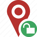 gps, location, map, marker, navigation, pin, unlock icon