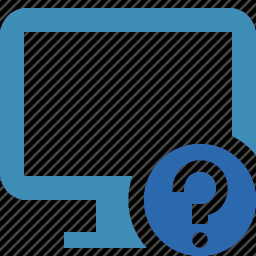 computer, desktop, display, help, monitor, screen icon