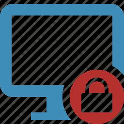 computer, desktop, display, lock, monitor, screen icon