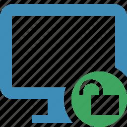 computer, desktop, display, monitor, screen, unlock icon