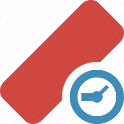 clean, clock, delete, erase, eraser, remove, rubber icon