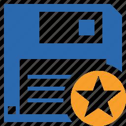 backup, data, disk, download, file, guardar, save, star icon