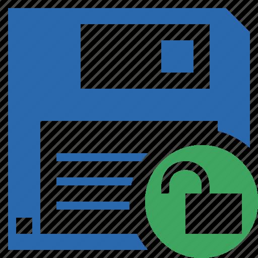 backup, data, disk, download, file, guardar, save, unlock icon