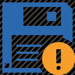 backup, data, disk, download, file, guardar, save, warning icon