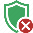 cancel, protection, safety, secure, security, shield icon
