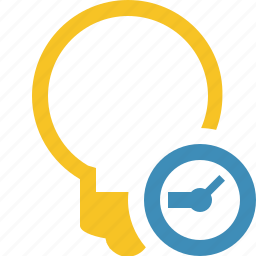 bulb, clock, idea, light, tip icon