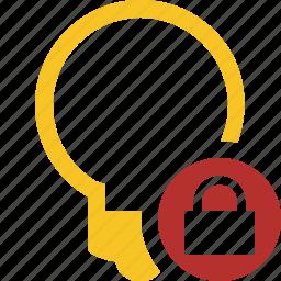 bulb, idea, light, lock, tip icon