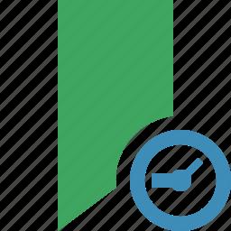 book, bookmark, clock, favorite, green, tag icon
