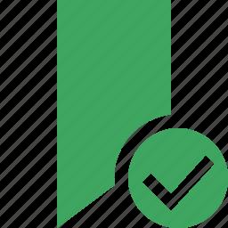 book, bookmark, favorite, green, ok, tag icon